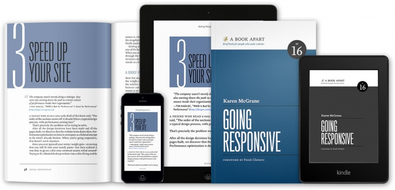 a photo of Karen's book cover, on various screens and in paper