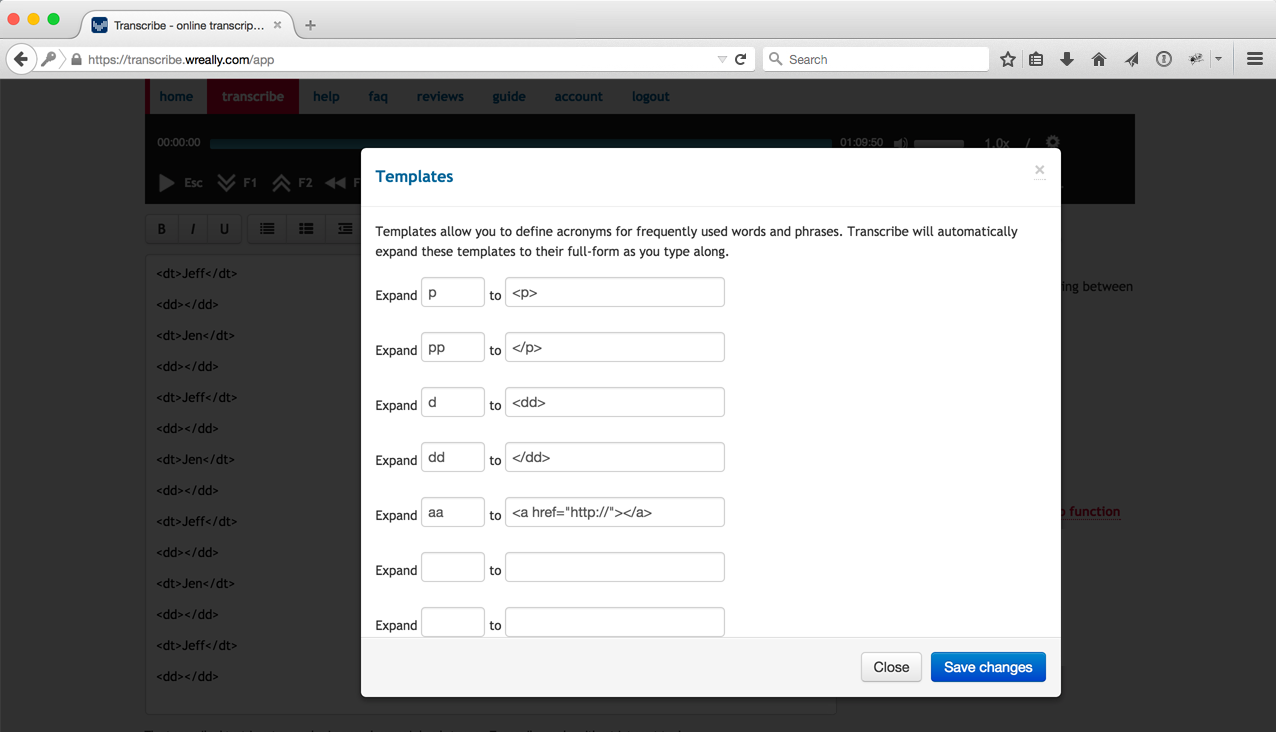 Screenshot of Transcribe's template feature