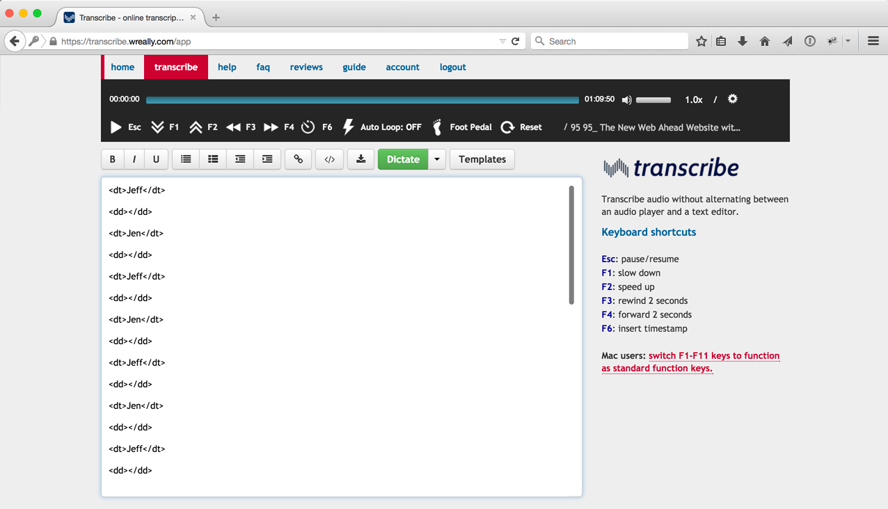 Screenshot of Transcribe